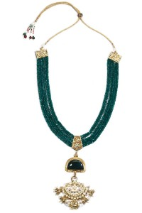 Anjali Jain Gold finish multilayer green onyx stone necklace