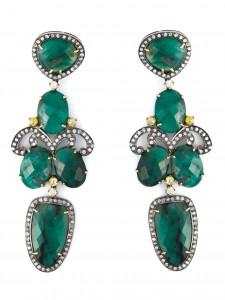 GEMCO drop emerald chandelier earrings