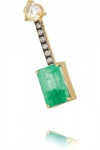 JEMMA WYNNE 18-karat gold, emerald and diamond earring