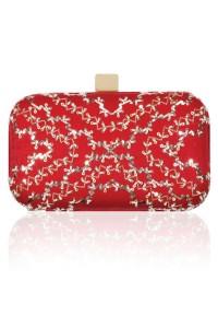 KAVANAH Crimson red embroidered kamdaani clutch