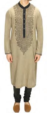 Sabyasachi Grey Khadi hand embroidered Kurta with military green churidar
